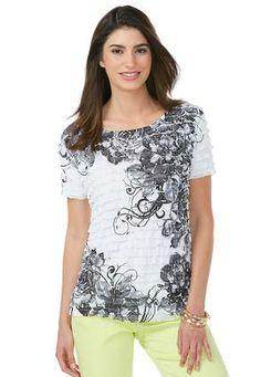 Cato Fashions Floral Print Eyelash Top-Plus #CatoFashions