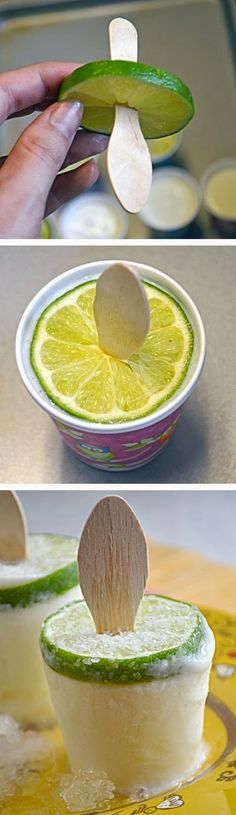 Creamy Margarita Popsicles. Clever, but I hate those wooden spoons. Maybe something other than that texture.