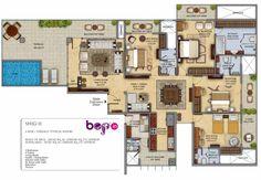 Floor Plan 4BHK (3400 Sq. Ft.) Area