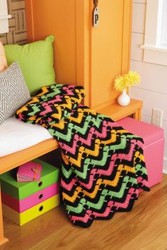 Enjoy the soaring popularity of chevrons with the versatile designs in Chevron Afghans, featuring Caron® Simply Soft® yarn! This premium yarn has no equal for its weight, luster, and sheen, and its so