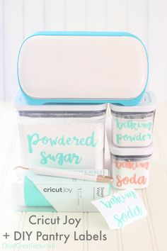 DIY Pantry Labels - Make vinyl labels for organizing your home. Add them to spray bottles, storage containers, jars, spice jars... Cricut Joy project is easy to do and has a tutorial with lots of resources and links to helpful videos. Even if you are new to Cricut this is something you can make! More fonts... #cricutjoy #DIYpantrylabels #vinylpantrylabels #crafts #cricutcrafts #cricutjoyprojects #cricutcrafts #cricutjoycrafts #DIY #pantryideas #crafts #homeorganization #ideasforthehome