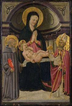 [Renaissance] Apollonio di Giovanni e Marco del Buono - Madonna col Bambino in trono con San Benedetto e Santo vescovo - ca. 1460 -Philadelphia Museum of Art.