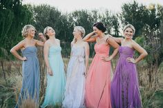 colorful bridesmaids - photo by Dearheart Photos http://ruffledblog.com/handcrafted-wedding-with-a-rabbits-and-wreaths-theme #weddingfashion #bridalparty