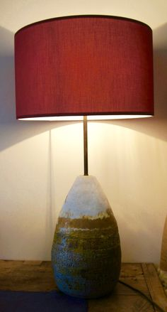 Lamp base made from coiled crank with Volcanic stoneware glaze and iron oxide decoration
