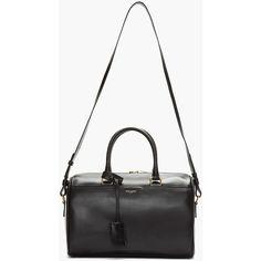 Saint Laurent Black Buffed Leather Duffle 6 Bag (113,390 MKD) ❤ liked on Polyvore featuring bags, bolsas, bolsos, purses, black bags, structured handbags, studded handbags, duffle bag, hand bags and yves saint laurent purse
