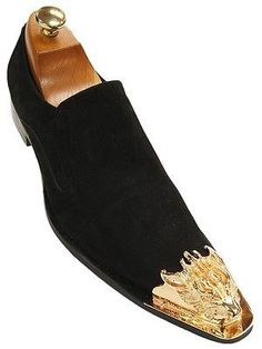 Fiesso Men Black Suede Gold Metal Detailing Pointed Toe Slip On Party Dress Shoe