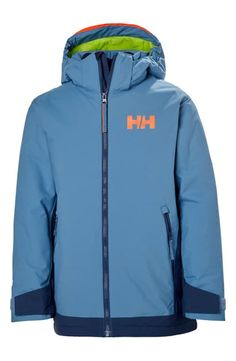 Helly Hansen Kids' Hillside Waterproof Insulated Ski Jacket In Blue Fog Snowboarding, Skiing, Helly Hansen, Big Boys, World Of Fashion, Luxury Branding, Hooded Jacket, Size 14, Jackets