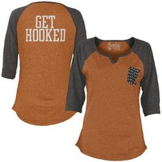 Texas Longhorns Women's Baja 3/4 Raglan Sleeve T-Shirt - Orange