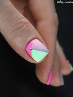 neon geometric nail art #cocosnailss #nails #skittlette