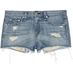 Rag & bone Mila distressed denim shorts ($92) ❤ liked on Polyvore featuring shorts, blue, ripped shorts, blue shorts, torn shorts, distressed shorts and destroyed shorts