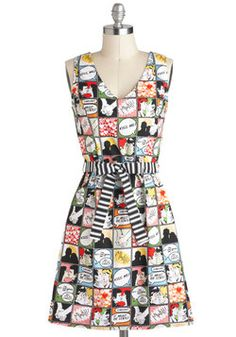 Quirky but cute.  Draw Them In Dress, #ModCloth