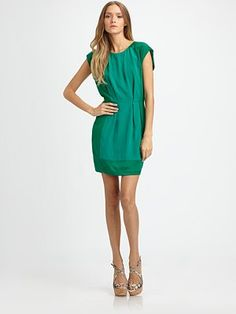 style | spring - rebecca taylor patched silk jacquard dress