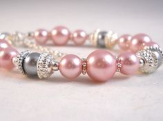 Child Bracelet Pale Pink and Grey Posh Girl by foreverandrea, $22.00