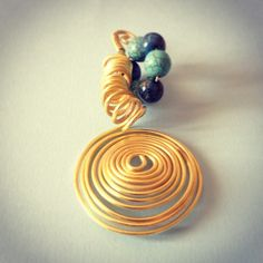 Wire pendant - Gold plated wire, Lapis and Turquoise stones. Handmade by me. Dina Mfs - 31deestore