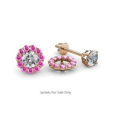 20c220c16 Pink Sapphire Halo Jacket for Stud Earrings 0.69 ct tw in 14K Rose Gold