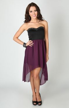 Strapless Dress with Studded Sweetheart Neckline and High Low Skirt