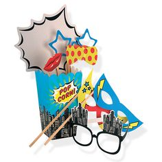 Pop Art Superhero Photo Booth Props - Party Games - Party Ark