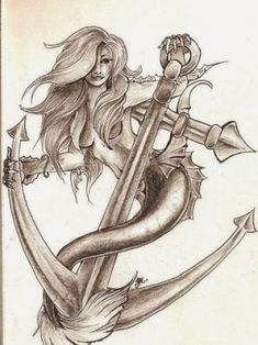 tribal mermaid tattoo Capricorn Mermaid Tattoo, Mermaid Anchor Tattoo, Mermaid Tattoo Designs, Mermaid Tattoos, Navy Anchor Tattoos, Navy Tattoos, Anchor Tattoo Design, Sailor Tattoos, Swimming Tattoo