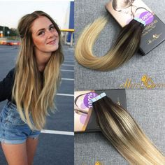 20pc Ombre Balayage Tape In Human Hair Skin Weft 100% Real Human Hair Extensions #Moresoo #HairExtension