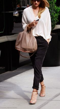 Great simple chic outfit with my fav bag (Alexander Wang's Rocco duffle bag) | fashforfashion