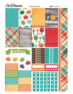 Fall Planner Freebie ~ snstreasures tartan pattern, trees and leaves, trackers, to do lists Planner A5, To Do Planner, Passion Planner, Free Planner, Happy Planner, Planner Ideas, Free Printable Planner Stickers, Free Stickers, Kawaii Planer