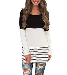 Women Long Sleeve T-Shirt Patchwork Lace Striped T-Shirt Casual Tees Tops Loose Tee Shirt Plus Size Navy Blouse, Girls Blouse, Navy Dress, Floral Blouse, Black Blouse, Long Sleeve Tops, Long Sleeve Shirts, Long Shirts, Shirt Blouses