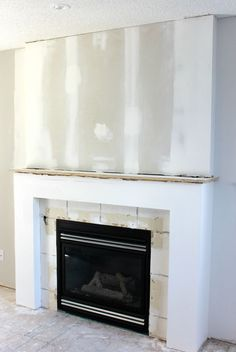 Fireplace makeover by Stylish Fireplaces. Original brick covered ...