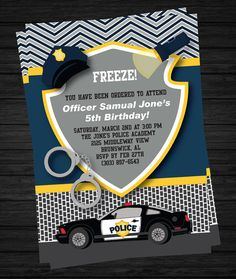 Police Birthday Invitation Printable by TwirlyDesigns on Etsy, $12.00
