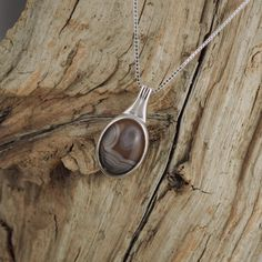 Sterling Silver Pendant/Necklace  Botswana Agate by CJsRocksGems