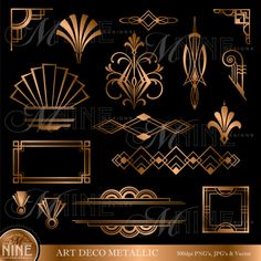 ART DECO Bronze Metallic Style Design Elements Digital Clipart, Instant Download, Vintage Accents Frame Borders Clip art Illustrations