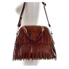 """Fab boho fringe purse - Coffee Beautiful brown vegan purse. Has handles and adjustable strap (removable). Beautiful details. Available in black too. Zipper to closure, rear zip pocket, extra long adjustable shoulder strap.  Bag measures 13""""(w)x10.5""""(h)x5""""(d) Boutique Bags"""