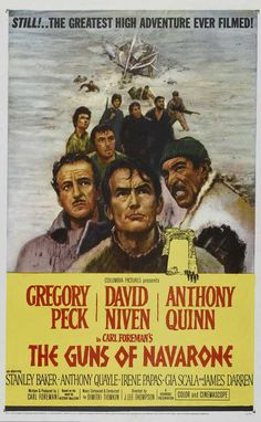 The Guns of Navarone (1961) 2h 38min |  22 June 1961 (USA) - A British team is sent to cross occupied Greek territory and destroy the massive German gun emplacement that commands a key sea channel.