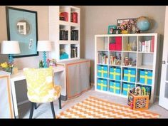 Playroom Blue Bins Decorated With Yellow Duct Tape Plain Mirror Hung And Embellished Thumb Tacks Gorgeous Home Office