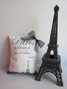 Paris Is Always A Good Idea - MINI Decorative Pillow - Paris Cityscape - Eiffel Tower - Audrey Hepburn Quote