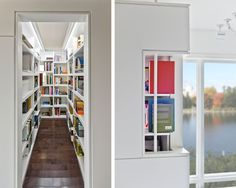 Mesmerizing Ideas In Home Library Designs: Captivating Modern Closet With Cool In Home Library Designs With White Color Library Shelves And Brown Laminate Floor Also Various Book And Modern Windows With Awesome Views ~ ellabb.com Closet Inspiration