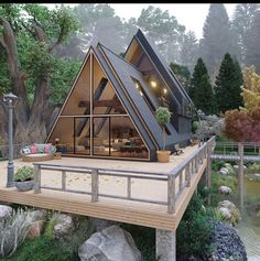 Photo by S H I Z 💋 on April La imagen puede contener: árbol y exterior Tiny House Cabin, Cabin Homes, Tiny Houses, Cob Houses, Cabin Design, Modern House Design, A Frame House Plans, Design Exterior, Interior Design
