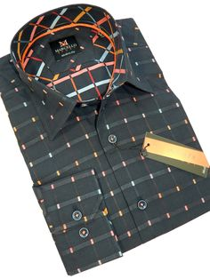 Marcello Sport Cool Jewel Plaid Rich array of rainbow piping. Solid accent taping and rainbow stitch work. 100% cotton, hidden button down collar. Soft, rich fabrication Modern fit, exactly like Robert Graham.