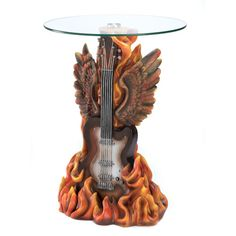Music Fanatic Table Rock n Roll Guitar Clear Glass Top resin base accent | eBay