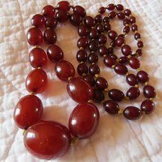 Vintage Deco Cherry Amber Bakelite Bead Necklace | eBay