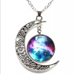 Gorgeous Galaxy moon necklace Nwot! Jewelry Necklaces