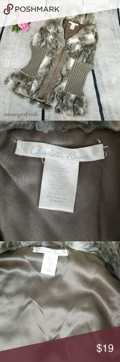 Charlotte Russe Gray Faux Fur Sweater Vest size S Charlotte Russe Gray Faux Fur Sweater Vest size S in good used condition. Some imperfections on the interior. Soft and beautiful! Please let me know if you have any questions. Happy Poshing! Charlotte Russe Jackets & Coats Vests