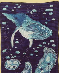 Whale Scarf - Batik on Silk with Embroidery & Buttons - FIBER ARTS Craftster Best of 2014 Winning Project