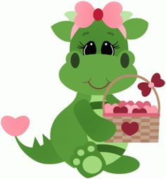 Silhouette Design Store - View Design #53770: valentine dragon holding basket full of hearts