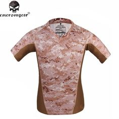 Emerson V Neck Skin Tight Base Layer Camo Running Camping T shirt Homme Shirts Breathable Perspiration T-shirt AOR1 EM9167