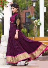 Casual Wear  Georgette Violet Embroidered Work Anarkali Suit