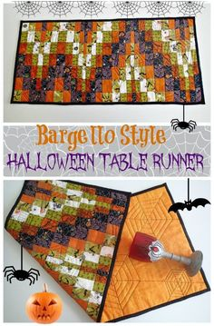Bargello style quilted Halloween Table Runner. Great idea to try out bargello patterns. Halloween Jelly, Halloween Sewing, Halloween Quilts, Halloween Kitchen, Trendy Halloween, 31 Days Of Halloween, Halloween Fabric, Halloween Projects, Halloween Ideas