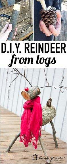 A DIY reindeer made from tree branches and logs! Check out this full tutorial on how to make a Christmas reindeer by Designer Trapped in a Lawyer's Body! Noel Christmas, Merry Little Christmas, Outdoor Christmas, Homemade Christmas, Rustic Christmas, Winter Christmas, Christmas Ornaments, Beach Christmas, Christmas Projects