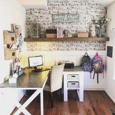 Plan: Escritorio doble X en forma de L Crédito de la foto: Steph - Diy Office Desk, Diy Computer Desk, Office Ideas, Office Nook, Desk Ideas, Diy Wood Desk, Diy Desk, Woodworking Furniture Plans, Woodworking Projects Diy