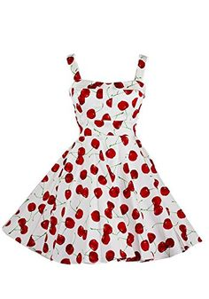 91ae0ed6e31 Ixia Wild Cherry Fold Over Dress-White-Medium Pin Up Dresses