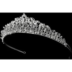 4457313b9af782 Swarovski Crystal and Pearl Tiara HP 7092 ❤ liked on Polyvore featuring  accessories and hair accessories